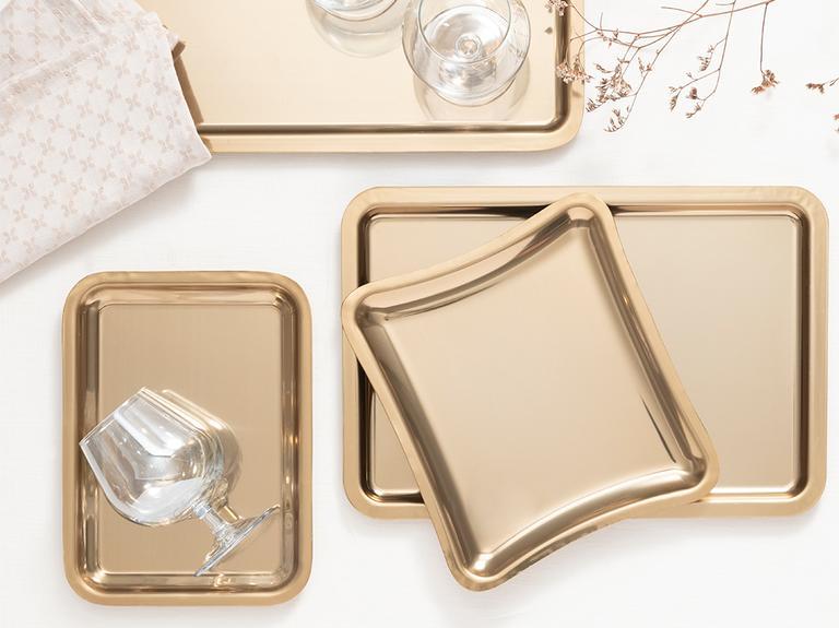 Shiny Metal Tepsi 32x22 Cm Gold