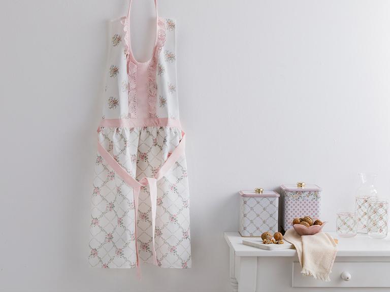Rosalinda Polyester Kopanakili Mutfak Önlüğü 80x85 Cm Pembe - Beyaz