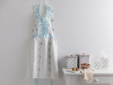 Rosalinda Polyester Fırfırlı Mutfak Önlüğü 80x85 Cm Beyaz - Mavi