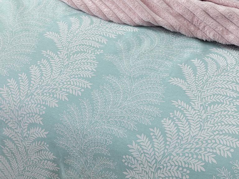 Elegant Leaves Pamuklu Super King Nevresim Seti 260x220 Cm Açık Seledon