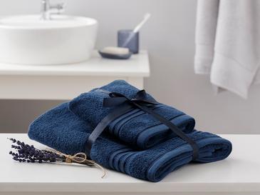 Romantic Stripe Floşlu Banyo Havlusu Takımı 50x85cm + 70x150cm Lacivert