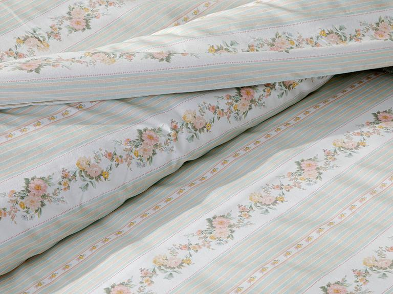 Floral Stripe Pamuklu King Size Nevresim Seti 240x220 Cm Açık Seledon