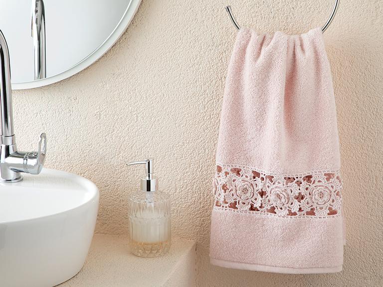 Crochet Rose Kroşeli Yüz Havlusu 50x80 Cm Pudra Pembe