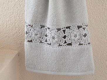 Crochet Rose Kroşeli Yüz Havlusu 50x80 Cm Açık Gri