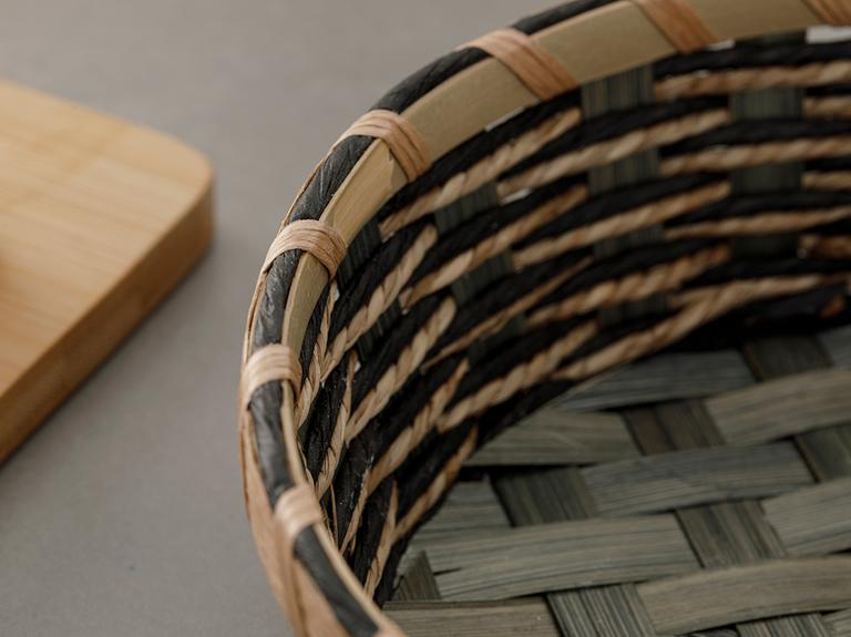 Audrey Hasır Yuvarlak Ekmek Sepeti 20.5x20.5x6 Cm Yeşil