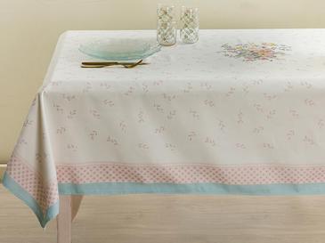 Rosalinda 4 Polyester Kare Masa Örtüsü 100x100 Cm Beyaz - Mavi