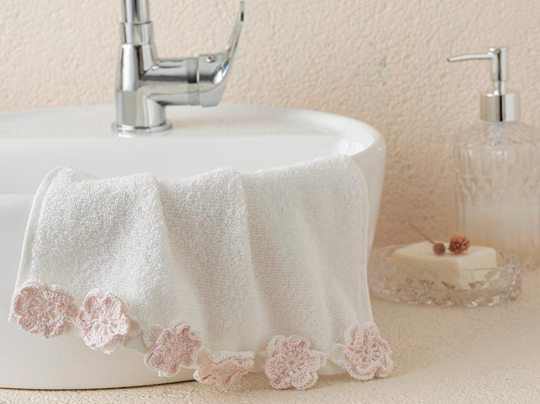 Crochet Flowers Kroşeli El Havlusu 30x45 Cm Ekru - Pudra Pembe