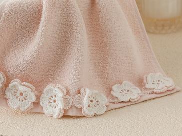 Crochet Flowers Kroşeli El Havlusu 30x45 Cm Pudra Pembe - Ekru