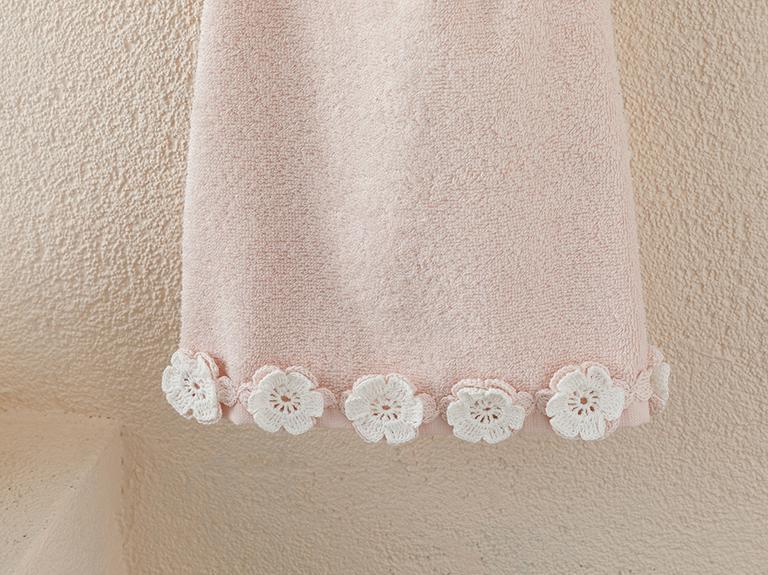 Crochet Flowers Kroşeli Yüz Havlusu 50x80 Cm Pudra Pembe - Ekru