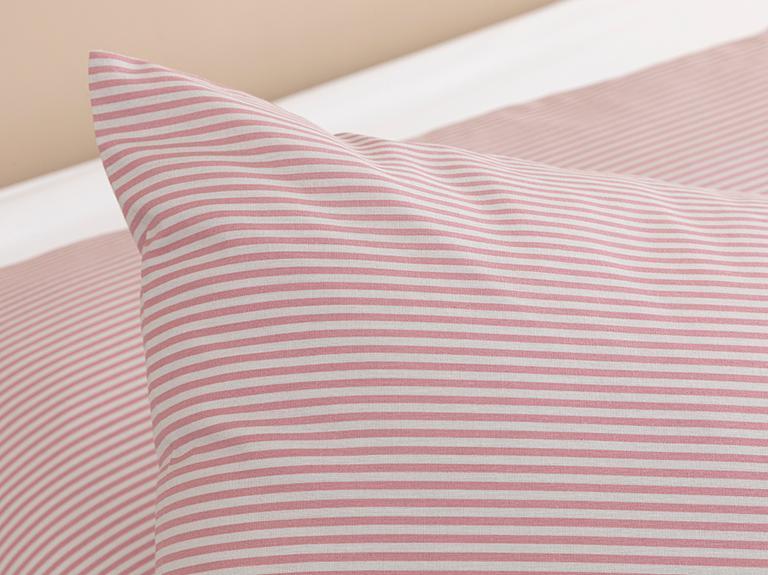 Petit Stripe Pamuklu 2'li Yastık Kılıfı 50x70 Cm Pembe - Gri