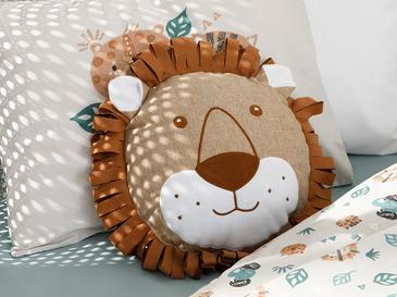 Lion Polyester Dekoratif Yastık 27x27 Cm Kahve