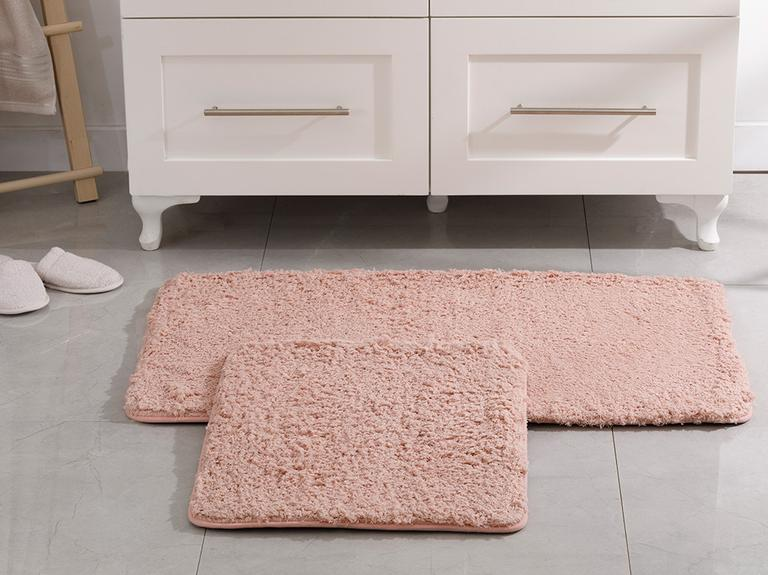 Sheep Polyester Banyo Paspası Seti 60x100 - 50x60 Cm Pudra