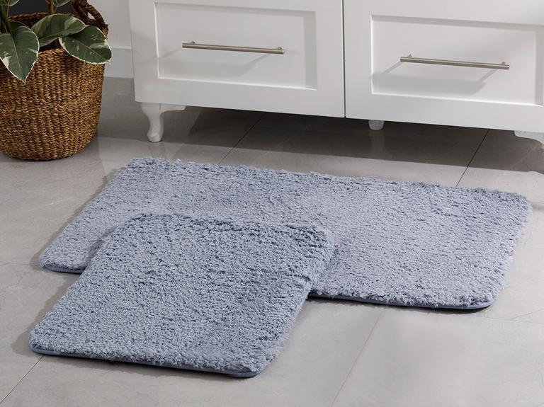 Sheep Polyester Banyo Paspası Seti 60x100 - 50x60 Cm Mavi