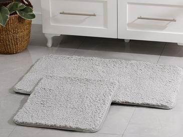 Sheep Polyester Banyo Paspası Seti 60x100 - 50x60 Cm Açık Gri