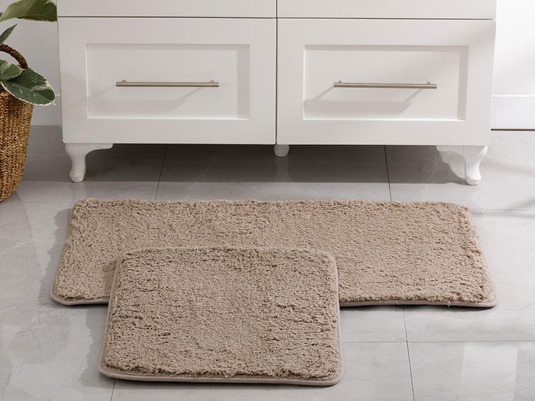 Sheep Polyester Banyo Paspası Seti 60x100 - 50x60 Cm Taş Rengi