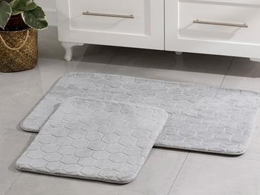 Honeycomb Polyester Banyo Paspası Seti 60x100 - 50x60 Cm Gri