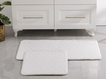 Honeycomb Polyester Banyo Paspası Seti 60x100 - 50x60 Cm Beyaz