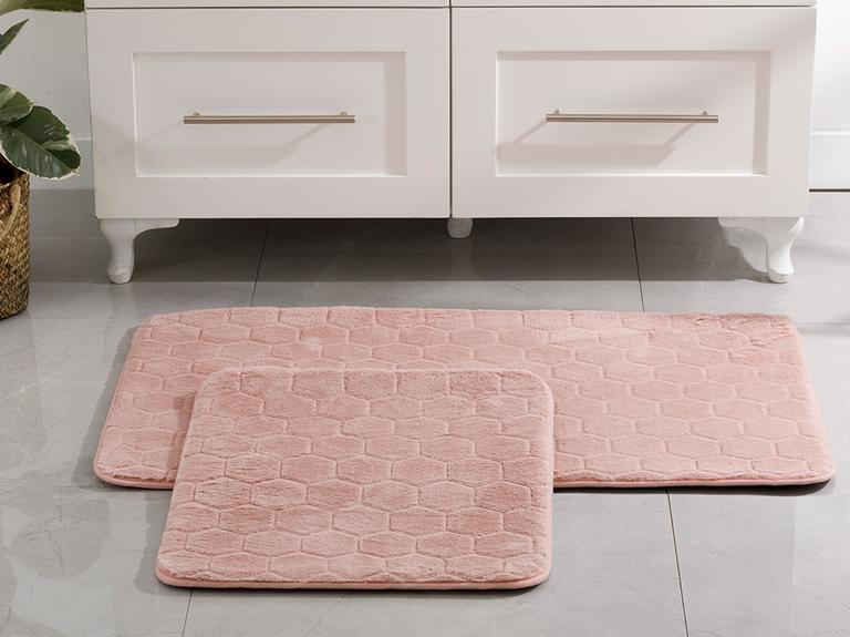 Honeycomb Polyester Banyo Paspası Seti 50x80 - 45x50 Cm Pudra