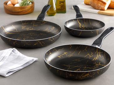 Marble Granit 3'lü Tava Seti 18cm+22cm+26cm Siyah