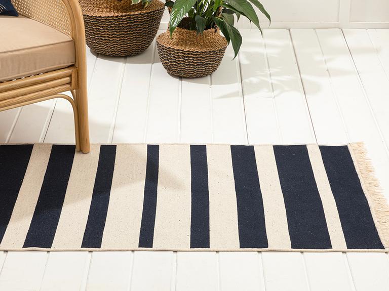 Stripes Pamuklu Kilim 80x150 Cm Lacivert