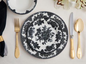 Rustic Elegance Porselen 12 Parça Yemek Takımı 15 Cm - 19 Cm -25 Cm Siyah