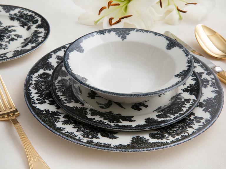 Rustic Elegance Porselen 24 Parça Yemek Takımı 15cm-21cm-19 Cm-25 Cm Siyah