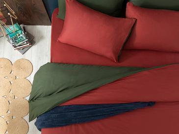 Plain Pamuk Tek Kişilik Nevresim Takımı 160x220 Cm Bordo-yeşil
