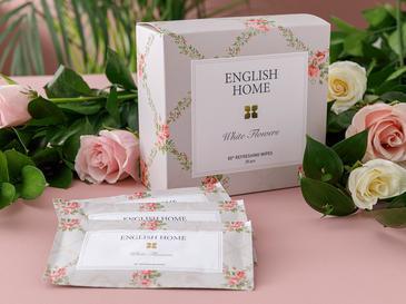 Beyaz Çiçekler 80° Alkol 25'li Mendil Kolonyalı Mendil 25 Adet Bej