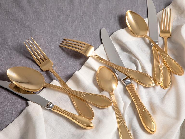 Leora Paslanmaz Çelik 18 Parça Yemek Çatal Kaşık Bıçak Takımı Gold