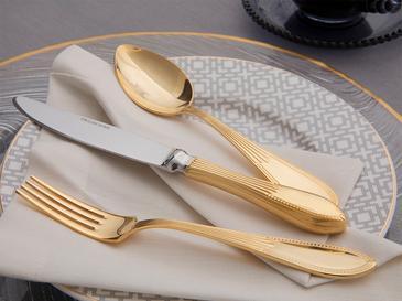 Lora Paslanmaz Çelik 18 Parça Tatlı Çatal Kaşık Bıçak Takımı Gold