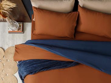 Plain Pamuk King Size Nevresim Takımı 240x220 Cm Turuncu-mavi