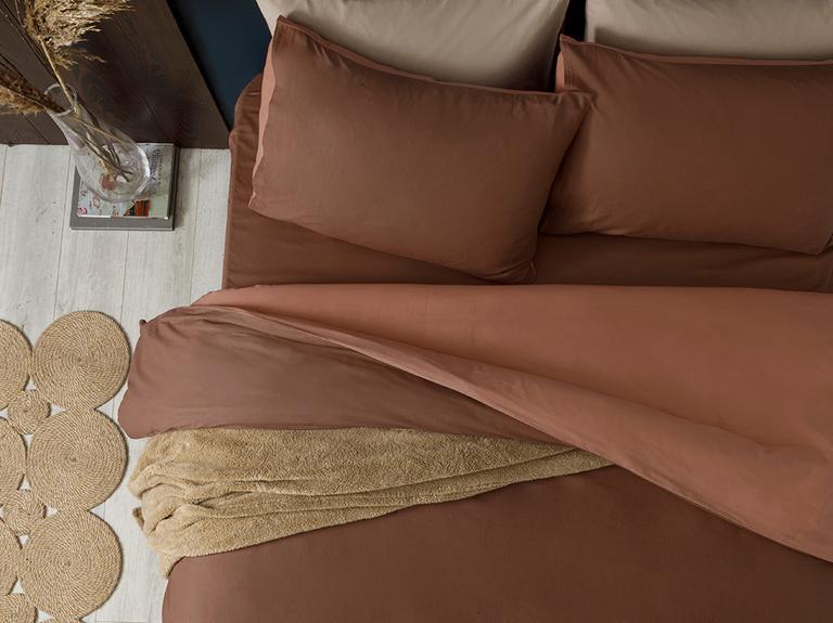 Plain Pamuk King Size Nevresim Takımı 240x220 Cm Kahve-nude