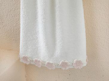 Crochet Flowers Kroşeli Yüz Havlusu 50x80 Cm Ekru - Pudra Pembe