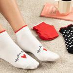 Chick Heart Pamuk Kadın 3'lü Çorap Kırmızı-Siyah