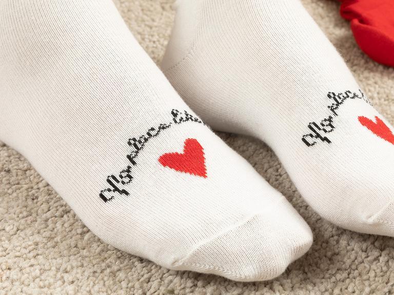 Red Heart Pamuk Kadın 3'lü Çorap Kırmızı-Siyah