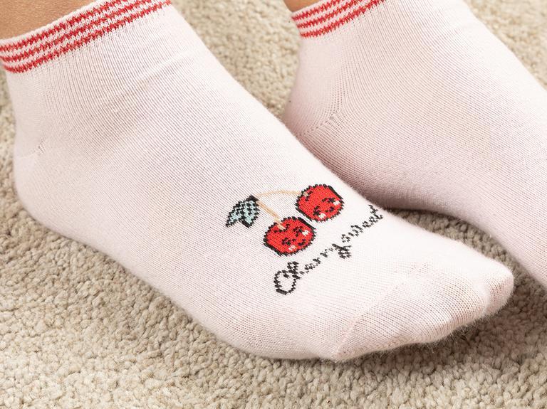 Sweet Cherry Pamuk Kadın 2'li Çorap Kırmızı-Pembe