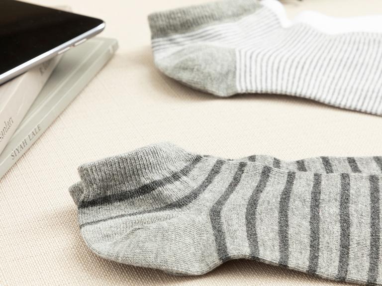 Striped Pamuk Erkek 3'lü Çorap Gri