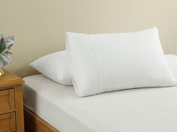 Eggy Kopanakili 2'li Yastık Kılıfı 50x70 Cm Beyaz