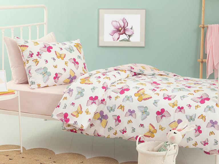 Summer Butterflys Pamuklu Çocuk Nevresim Takımı 160x220 Cm Pembe