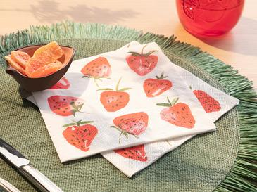 Fruits 20'li Kağıt Peçete 33x33 Cm Beyaz - Kırmızı