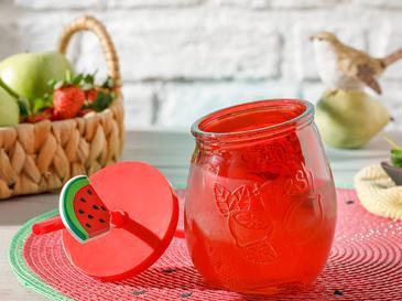 Colorist Cam Pipetli Kapaklı Bardak 400 Ml Kırmızı