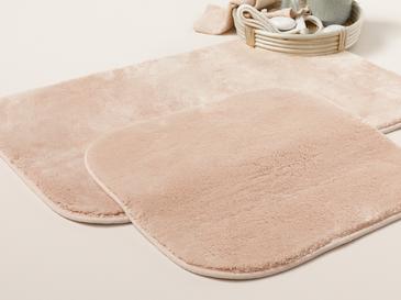 Puffy Polyester 2'li Banyo Paspası Seti 50x80 - 45x50 Cm Pudra Pembe