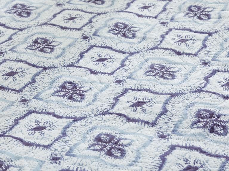 Tribal Damask Çift Kişilik Çok Amaçlı Yatak Örtüsü 200x220 Cm Mavi