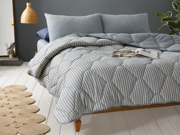 Comfy Stripe İpliği Boyalı Tek Kişilik Uyku Seti 160x220 Cm Mavi