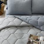 Comfy Stripe İpliği Boyalı King Size Uyku Seti 240x220 Cm Mavi