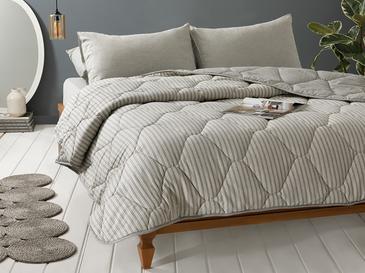 Comfy Stripe İpliği Boyalı Çift Kişilik Uyku Seti 200x220 Cm Gri