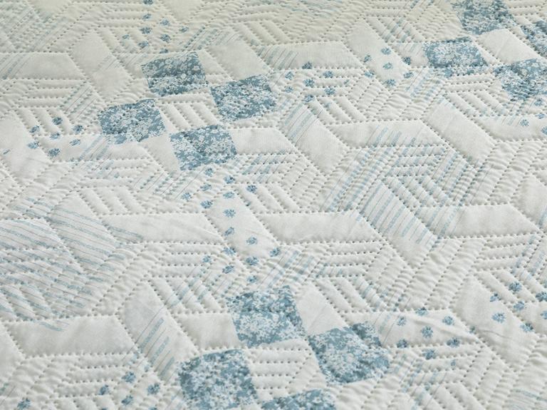 Timeless Patch King Size Çok Amaçlı Yatak Örtüsü 240x220 Cm Mavi
