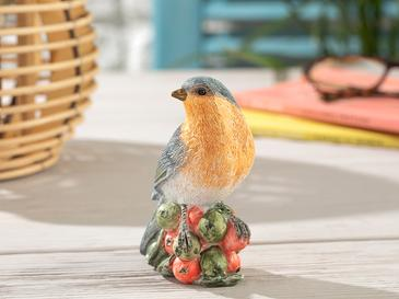 Fruit Loving Bird Polyresin Biblo 9.5*7*10.5cm Mavi