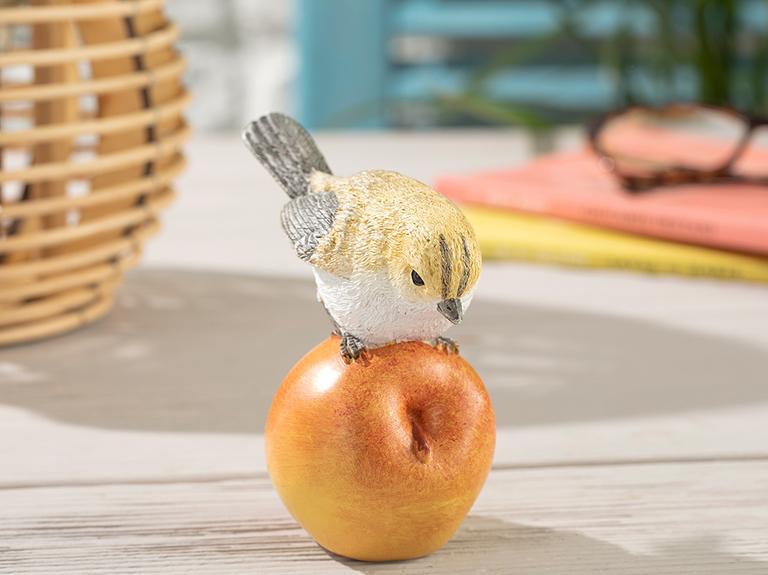 Pear Loving Bird Polyresin Biblo 9.5*7*10.5cm Sarı