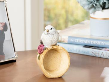 Grape Loving Bird Polyresin Biblo 7.8*7.2*13cm Gri